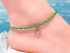 Green ankle bracelet, lucky anklet, cats eye anklet, gold anklet, gift for her by CustomAnkletsByLori on Etsy Boot Bracelet, Anklet Bracelet, Bracelets, Gold Anklet, Beaded Anklets, Silver Boots, Boot Jewelry, Boho Boots, Boot Bling