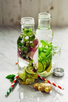 Ginger, lime and mint infused water & Ginger, cucumber and basil infused water.