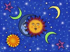 Made with Sketchbook Pro on the ipad. Celestial Gathering Sun and Moon Drawing Sun Moon Stars, Sun And Stars, Sun And Moon Drawings, Moon Pictures, Moon Pics, Blessed Are We, Witch Painting, Lunar Moon, Moon Illustration