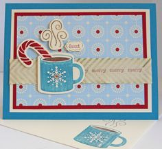 Hot Choc w/pepperment embossing powder--StampinUp--
