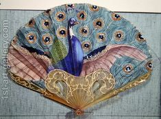 Vintage Antique Peacock fan, circa 1905 by Adolphe Thomasse - Reproduction Oil Painting - Antique Fans, Vintage Fans, Vintage Antiques, Vintage Decor, Vintage Style, Hand Held Fan, Hand Fans, Elegante Y Chic, Chinese Fans