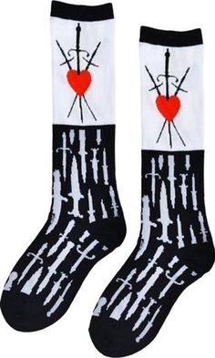 584f577ac8841 Too Fast Apparel - Heart Dagger Gothic Evil Love Black & White Calf Socks -  Buy
