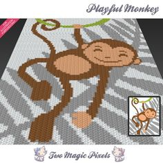Playful Monkey crochet graph/pattern PDF by TwoMagicPixels on Etsy