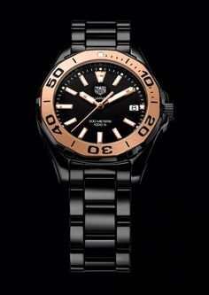 The @tagheuer Aquaracer Lady watch boasts 300-meter water-resistance, a rotating divers' bezel, screwed crown and screwed caseback with a divers' helmet engraving, luminous markers, and nonreflective sapphire crystals. Shown above is the black model with 5N rose-gold bezel on a black ceramic bracelet.  More @ http://www.watchtime.com/wristwatch-industry-news/watches/5-new-tag-heuer-aquaracers-bigger-cases-all-ceramics-for-ladies/ #watchtime #chronograph #divewatch #ladieswatches