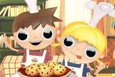 Telmo y Tula, dibujos animados infantiles. Recetas para niños, cocinar con niños galletas. Recursos educativos