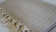 Throw Hand Loomed Cotton Throw Aegean style Pure by DokumaAtelier