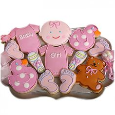 Welcome to Cookie Gallery! We offer the best selection of value-priced, handcrafted gift cookies. All of our hand decorated cookies, gingerbread houses, confections and other baked goods are backed by our Best Value and Satisfaction Guarantee. Fancy Cookies, Cupcake Cookies, Sugar Cookies, Fiesta Baby Shower, Baby Shower Parties, Baby Showers, Chocolates, Baby Gifts For Dad, Baby Girl Cookies