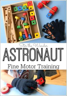 Astronaut Fine Motor Training is a fun activity for space obsessed preschoolers to work on fine motor skills, hand-eye coordination and perseverance. (Use nuts and bolts) Space Activities For Kids, Space Preschool, Preschool Lessons, Motor Activities, Science Activities, Infant Activities, Preschool Classroom, Preschool Plans, Space Projects