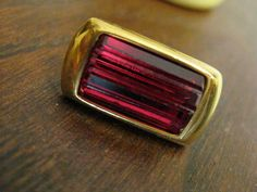 VINTAGE NAPIER Ruby Red Glass Goldtone Oblong Pierced Earrings Gorgeous Look on Etsy, $8.00