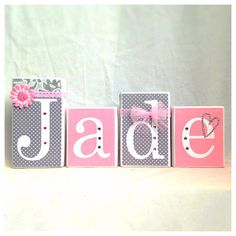 Obviously we'd have to do her first name too but this is just too cute. Jade Pink & Grey Name Blocks