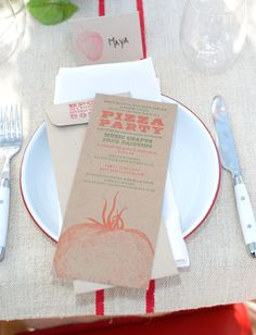 Pizza party This is cute for Allynn's pizza party. Rehearsal Dinner Invite?