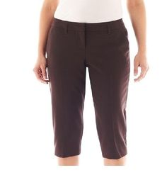 worthington women's cropped pants straight leg chocolate petites size 4P NEW #Worthington #CaprisCropped