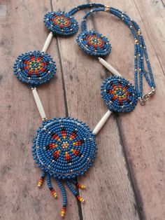 Native American Hand Crafted Beaded Necklace by OraLouiseJewelry, $95.00