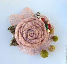Купить или заказать Бохо-брошь 'Зимняя' в интернет-магазине на Ярмарке Мастеров. Брошь в стиле бохо выполнена специально для зимы. Она выполнена из шерстяной ткани спокойного бежевого-розового оттенка, итальянского кружева в тон цветка. Цветок обрамляют различные бусины, напоминающие гроздь ягод и четыре листика: два металлических и два ажурных - текстильных. Тут и валяные бусины, бусины натурального камня:агат двух цветов, говлит, кракелированный кварц и унакит.