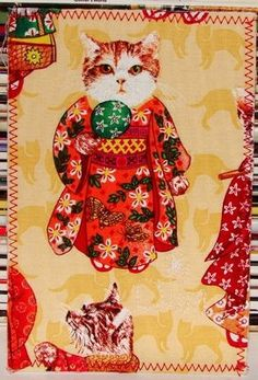 Cats in kimonos fabric postcard