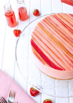 Strawberry Mousse Cake with Candied Rhubarb - The Tough Cookie Food Photography Tips, Spring Photography, Strawberry Mousse Cake, Cookie Crust, No Bake Treats, Spring Recipes, Spring Food, Favorite Recipes, Sweets