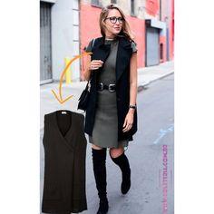 Colete e Vestido de tricô na cor cinza da marca Coleteria ♡ - Coletes femininos e infantis - Coleteria   sempre♡