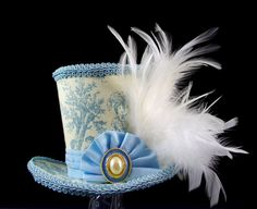 Blue and Cream Toile Mini Top Hat Fascinator, Alice in Wonderland, Tea Party Hat, Mad Hatter Hat, Bridal, Victorian, Cottage Chic, Rustic