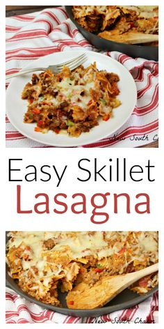 Easy Skillet Lasagna takes 30 minutes and cooks in one skillet making dinner a snap. Easy Dinner Recipes, Pasta Recipes, Beef Recipes, Cooking Recipes, Healthy Recipes, Delicious Recipes, Cheesy Recipes, Top Recipes, Amazing Recipes