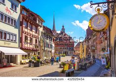 Schaffhausen, Switzerland - April 12, 2016 : Stein Am Rhein is the ancient city in medieval age. The unique architecture and exterior wall painting are attractiveness for tourist to visit. - stock photo