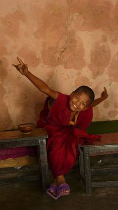 "Little Monk | Kathmandu, Central Nepal...photo by Bill Planche ""One of the young pupils I've had for three short weeks... They were so lively, I got the impression I learned more from them than I taught..."""