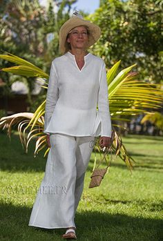 "Light linen outfit (slightly transparent) perfect for Summer evening party or seaside ceremony<br /> Our thin white ""Fuji"" blouse (slit on the sides, long sleeves with open cuff, invisible zip on the side of the bust) is paired with the white thin linen wide legs BABA Trousers (elastic waistband and side zip)"