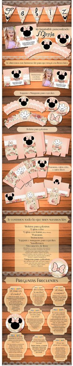 Kit Imprimible Minnie Vintage Shabby Cumpleaños Baby Shower - $ 150,00 en Mercado Libre