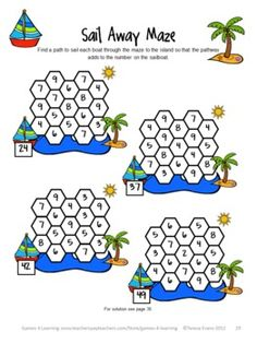 A summer math puzzle sheet from Summer Math Games, Puzzles and Brain Teasers by Games 4 Learning. It is loaded with Summer math fun for the classroom or for kids to take home over their Summer Vacation. Kids Brain Games, Math Games For Kids, Fun Math, Halloween Math Worksheets, Fun Worksheets, Math Logic Puzzles, Team Activities, Math Challenge, Math Strategies