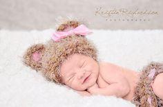 It's a GIRL Crocheted Baby Bear NEWBORN Beanie Hat