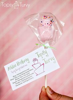 Such a cute idea!  Little Cake Pops to go with your business cards.  topsy-turvy-cake-pops-business-cards by Ashlee @ imtopsyturvy, via Flickr