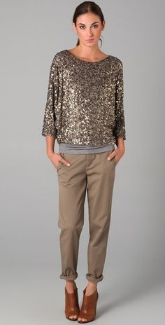 Love the sparkly top. It makes the outfit dressy yet still casual.