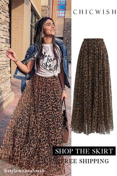 Leopard Watercolor Maxi Skirt - outfits - New Hair Styles Mode Outfits, Skirt Outfits, Chic Outfits, Spring Outfits, Fashion Outfits, Womens Fashion, Spring Dresses, Maxi Dresses, Tulle Skirts