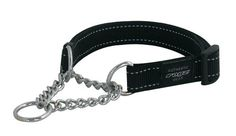 Rogz Utility Large 3/4-Inch Reflective Fanbelt Obedience Half-Check Dog Collar, Black