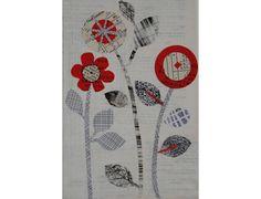 mini collage on canvas - 'Red configuration' www.johnsonstudio.co.uk