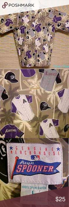 """REYN SPOONER / ARIZONA DIAMONDBACKS Shirt -  Large AUTHENTIC HAWAIIAN - This listing is for a REYN SPOONER men's Hawaiian shirt. Go Diamondbacks! Official MLB Diamondbacks Reyn Spooner. Hawaiian Arizona Diamondbacks pride print. Made of 100% rayon. Button down front with 6 coconut buttons, and 1 chest pocket. It is NEW WITHOUT TAGS and is in MINT wearable condition.   Size LARGE. Measurements ~ Length 29"""", Chest 50"""", Waist 50"""", Hip 50"""", Sleeves 12"""", Shoulder 19"""". REYN SPOONER Shirts Casual…"""