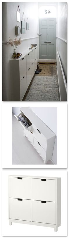 IKEA - STÄLL, Shoe cabinet with 4 compartments, , Helps you organize your shoes and saves floor space at the same time.In the shoe cabinet your shoes get the Apartment Entryway, Apartment Living, Living Room, Apartment Furniture, Apartment Ideas, Foyer Decorating, Decorating Ideas, Narrow Hallway Decorating, Small Apartments