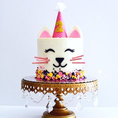 Cute cat cake without tail custom sprinkles for a 2nd birthday