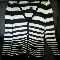 White House Black Market cardigan New with tags stripe cardigan. Gold and white buttons. Stripes have a gold trim. Very classy looking White House Black Market Sweaters Cardigans