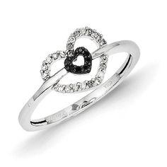 14k White Gold Black and White Diamond Double Heart Ring