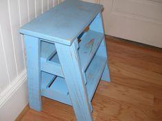 Step stool ladder  blue distressed repurposed by RusticFurnishings, $65.00