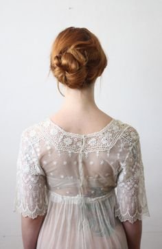 A vintage wedding dress with gorgeously delicate details.