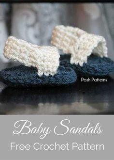 A free crochet pattern for a cute pair of baby sandals. Perfect for summertime! By Posh Patterns. by Bettyblue Crochet Booties Pattern, Crochet Baby Sandals, Baby Shoes Pattern, Crochet Shoes, Crochet Slippers, Baby Slippers, Easy Crochet Projects, Easy Crochet Patterns, Baby Patterns
