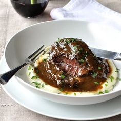 These slow cooked beef cheeks are meltingly tender! Easy to make, braised in a l… These slow cooked beef cheeks are meltingly tender! Easy to make, braised in a luscious red wine sauce. Fodmap Recipes, Meat Recipes, Slow Cooker Recipes, Cooking Recipes, Cooking Food, Dinner Recipes, Vegetarian Recipes, Snack Recipes, Crockpot Recipes