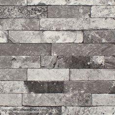 Papel Pintado New Walls NWS_1847_51_35, papel de imitación piedra en distintos tonos de grises.