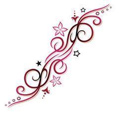 Vektor: Pink, rotes Tribal mit Blumen und Sternen