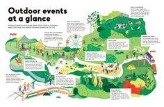 Destination Magazine Illustration on Behance Pamphlet Design, Leaflet Design, Map Design, Map Layout, Print Layout, Magazine Illustration, Graphic Illustration, Fantasy Map, Parking Design