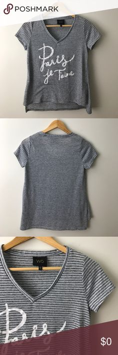 [$10] 🖤 Paris Je T'aime High Low Tee Only $9.80 (30% off) in a 3+ item bundle! Paris Je T'aime blue/grey & white striped high low v-neck tee. Excellent condition! Listing no: 138 W5 Tops Tees - Short Sleeve