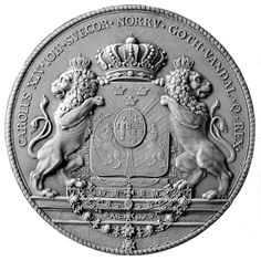 Seal with the coat of arms of King Karl XIV Johan of Sweden and Norway (1763-1844)