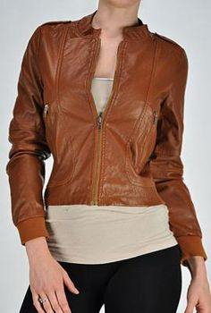 Downtown Cityscape Faux Leather Jacket in Camel | Sincerely Sweet Boutique