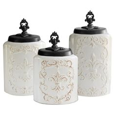 3-Piece Brittanie Canister Set in Weathered White